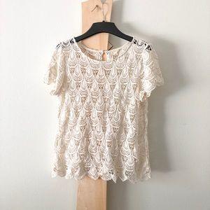 Adiva Crochet Lace Boho Peasant Flowy Top Blouse q